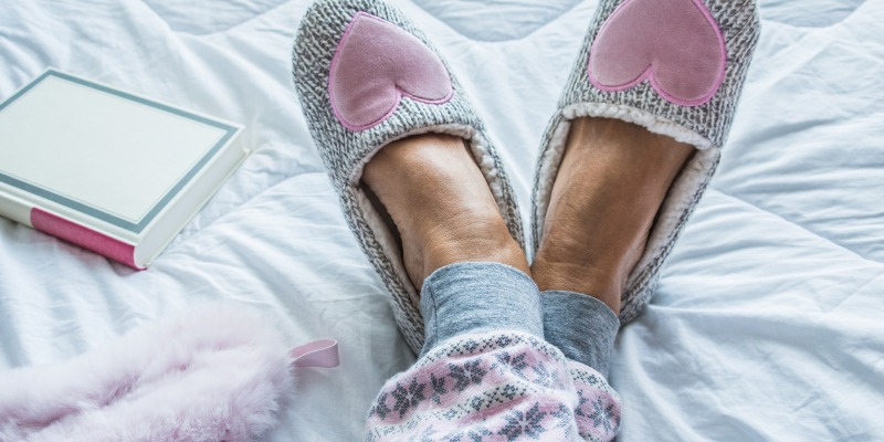 woman in cozy slippers